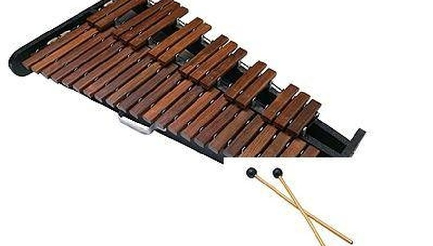 A xylophone keyboard and mallets