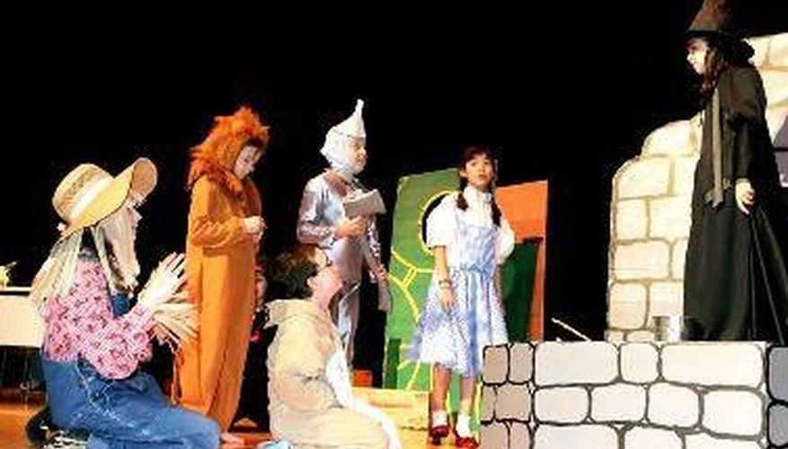 A stage backdrop makes the school play a success.