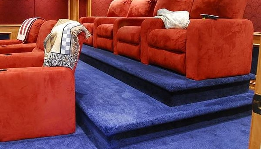 A home theater with multiple risers
