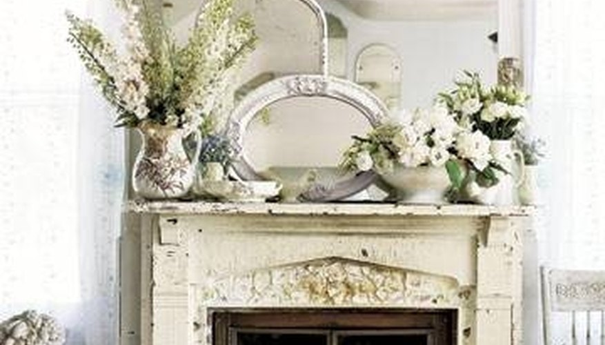 Antiqued fireplace mantel
