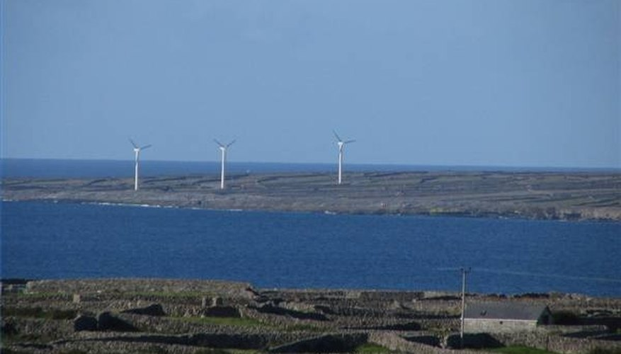 Windmills providing green energy for desalination plant