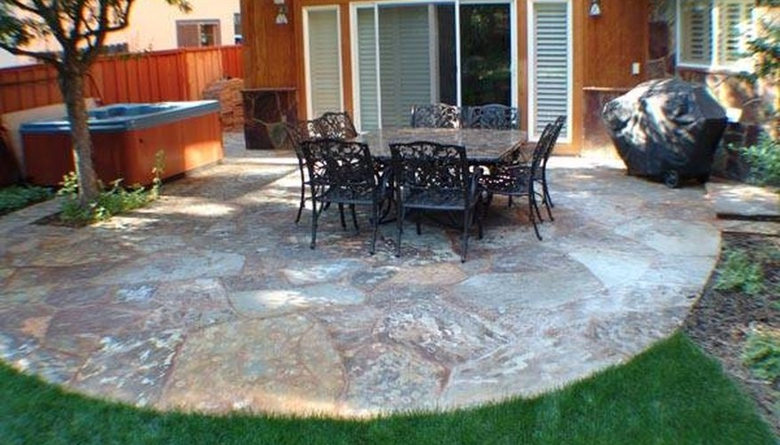A slate patio can be created in your yard in as little as a day's time.