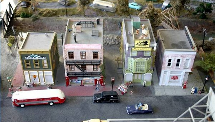 A miniature town is sometimes used for train dioramas.