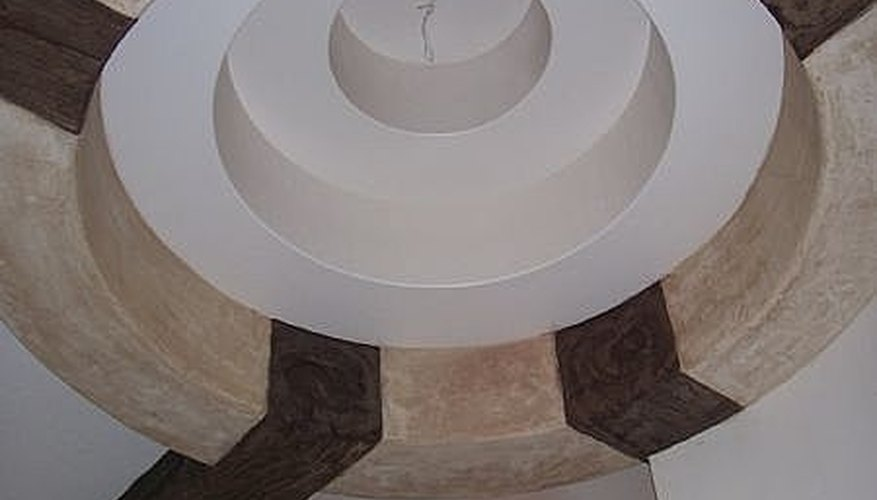 Textured architectural ceiling element in a rustic faux finish