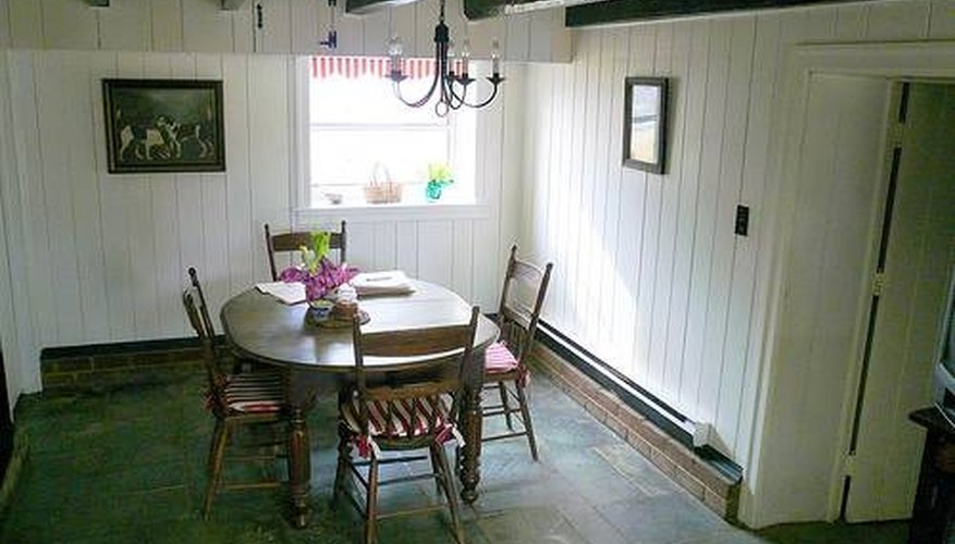 Here, slate flooring was used to add to the rustic charm of this room.