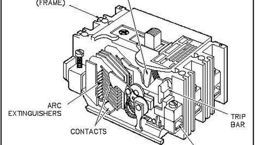 Cutaway of a molded case circuit breaker