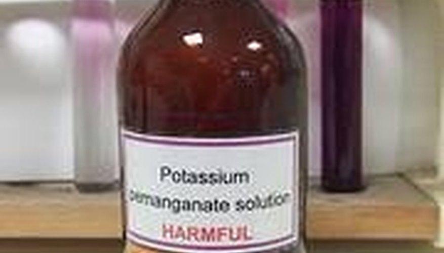 A potassium permanganate solution