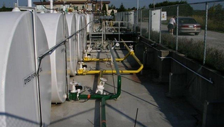 A series of bulk storage propane tanks.