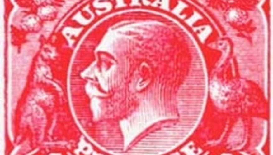 One Penny pink stamp with image of King George V.
