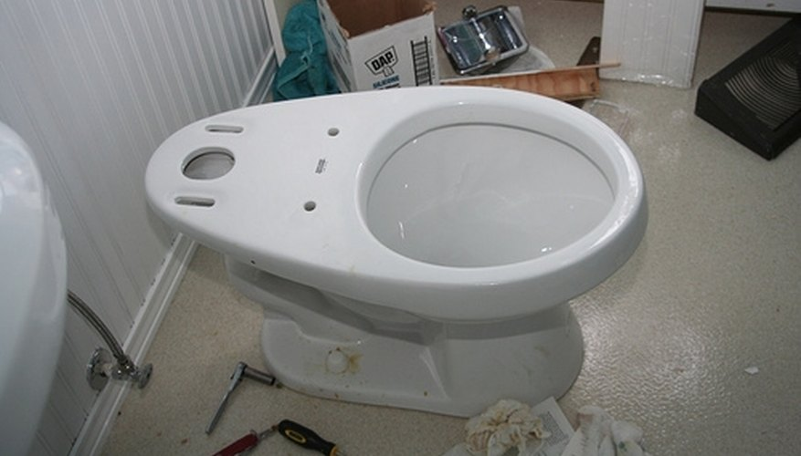 Toilet bowl ready for installation.