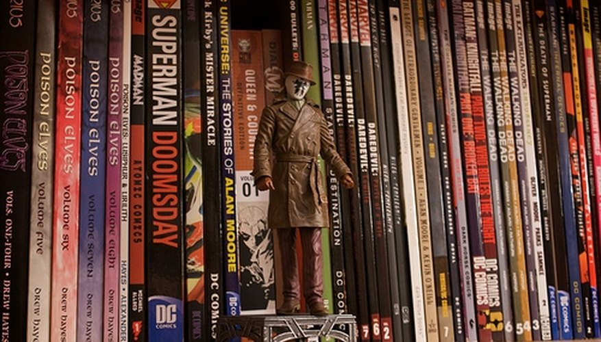 A Shelf Housing a Number of Comic Books.