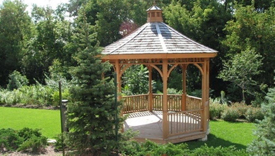 Gazebo with a wooden roof.