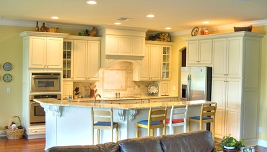 Repainted cabinets that are covered with laminate paper.