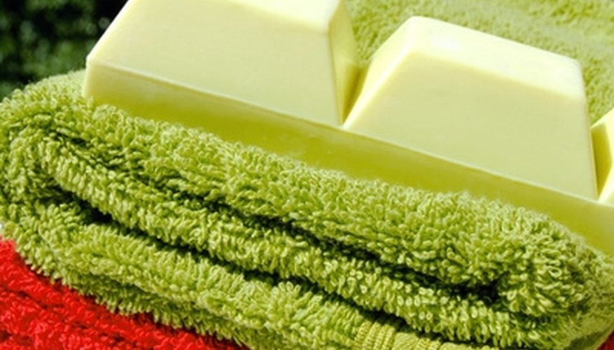 Soap drying on towels.