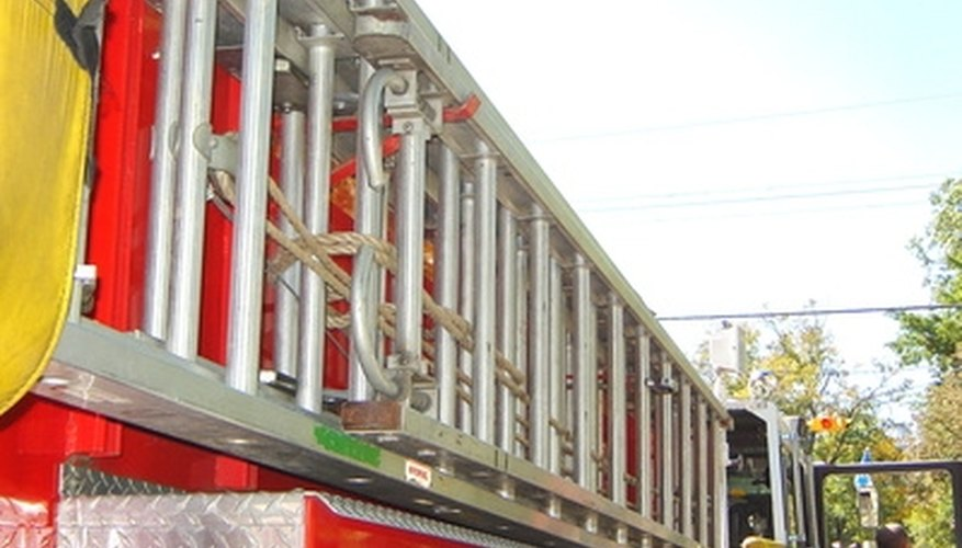 Extension ladder side rack on a fire engine