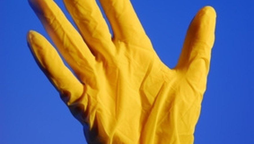 Wear gloves to protect the skin from spray cleaners.