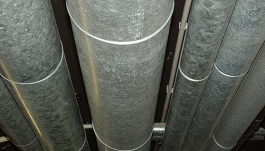 Round sheet metal ducts typically used to deliver heated or cooled air.