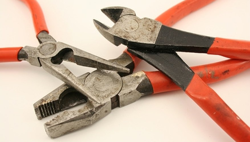 Needle nose pliers, wire cutters and lineman's pliers