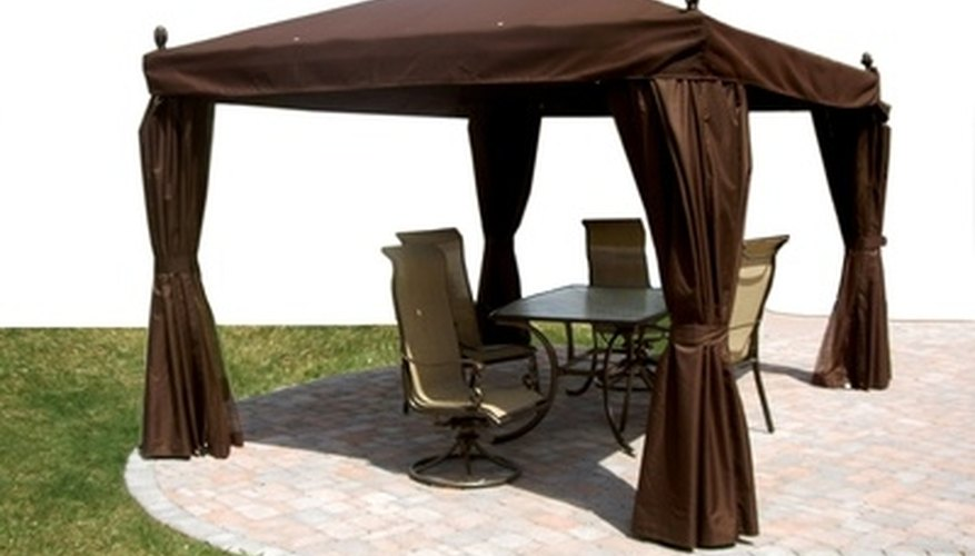 Outdoor furniture protected from the sun.