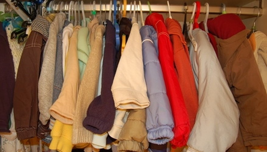 Shelves can help organize a wardrobe.