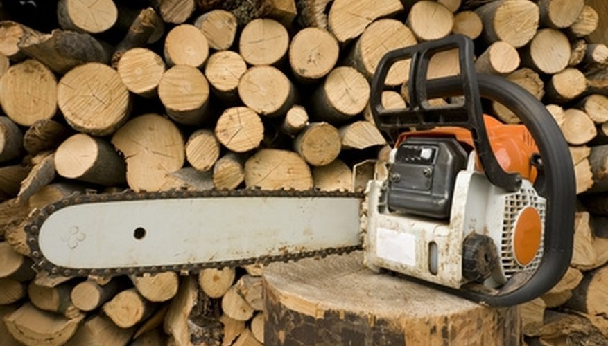 A chainsaw rotates a cutting chain around a shaft to provide maximum cutting power.