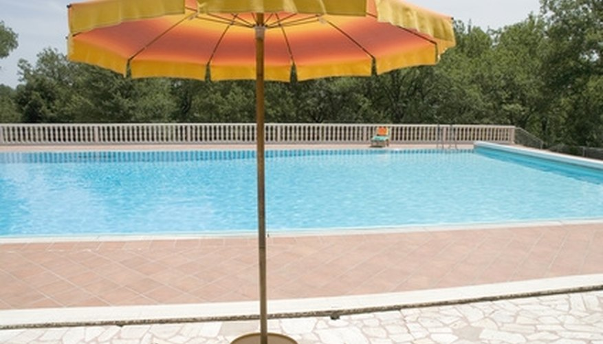 Patio umbrellas can become pool umbrellas.