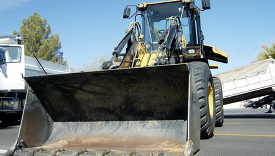 Wheel loaders are large construction vehicles.