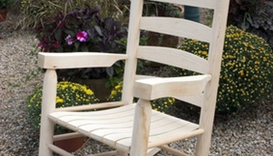 Decorate the wide slats on the back of a rocking chair, the arm rests and the seat.