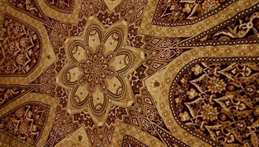 Lay a rug of your choice on top of a vinyl floor.