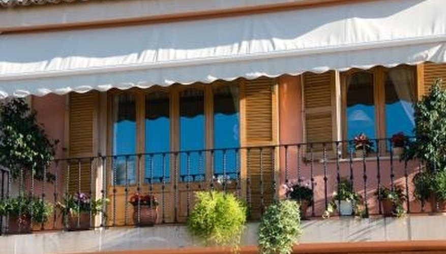 Acrylic fabric is one choice for awnings.