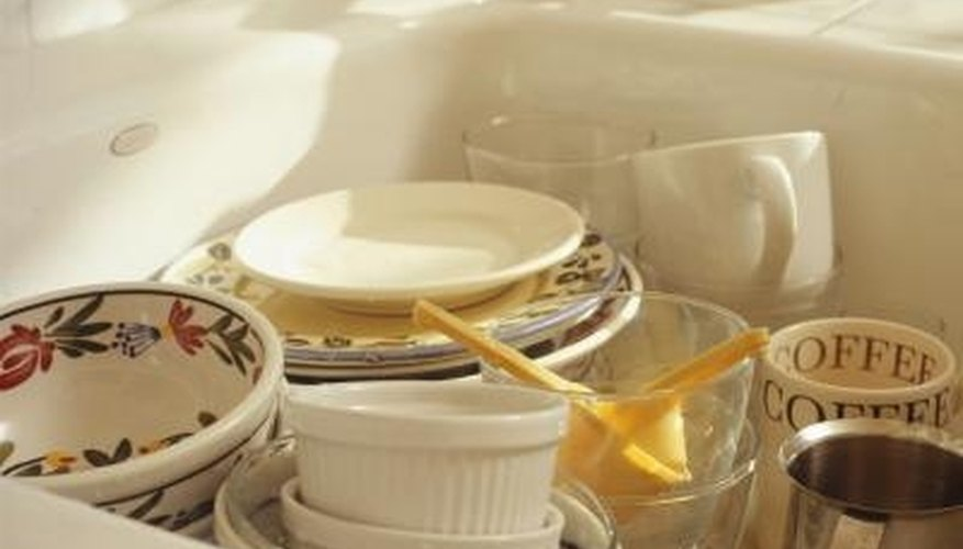 Dishes or silverware left in a porcelain sink can leave metal marks behind.