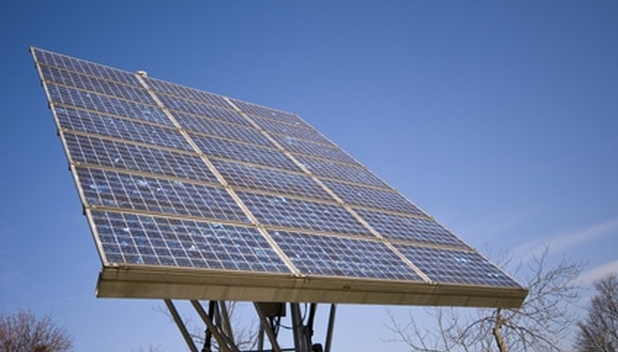 Ground-mounted solar panels can be adjusted to track the sun.