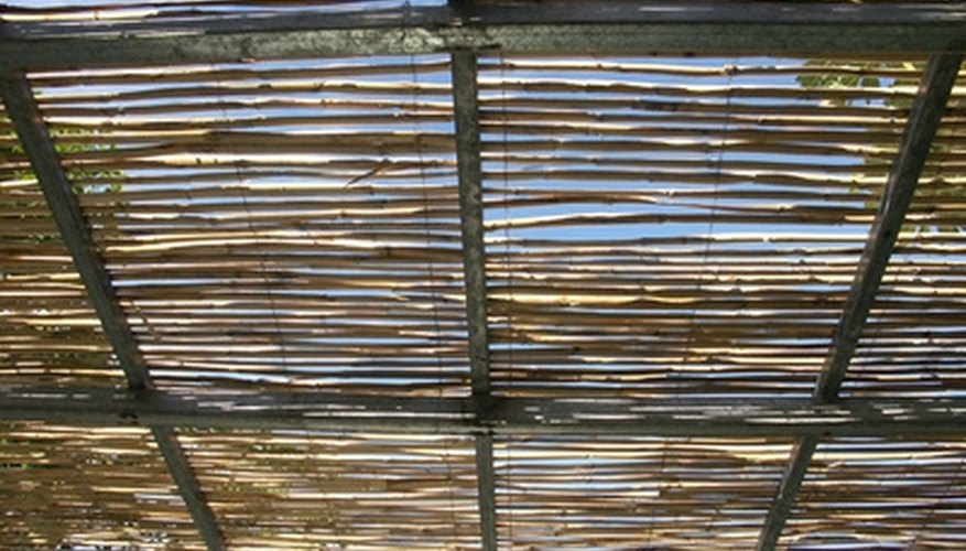 Steel pergolas give shade in hot summer days