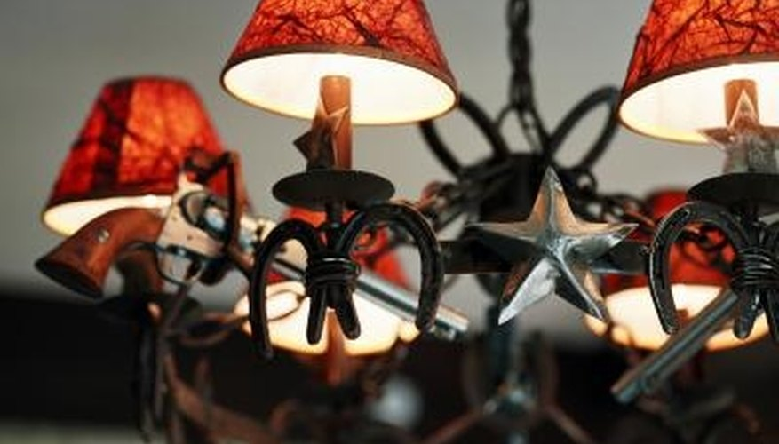 Bring color to a room by adding colored shades to your chandelier.