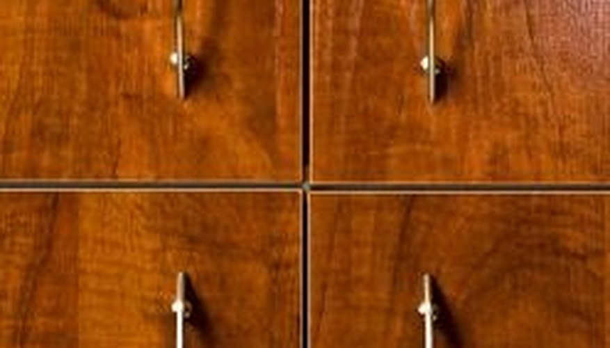A thin layer of tinted clearcoat mimics stain on oak cabinets.