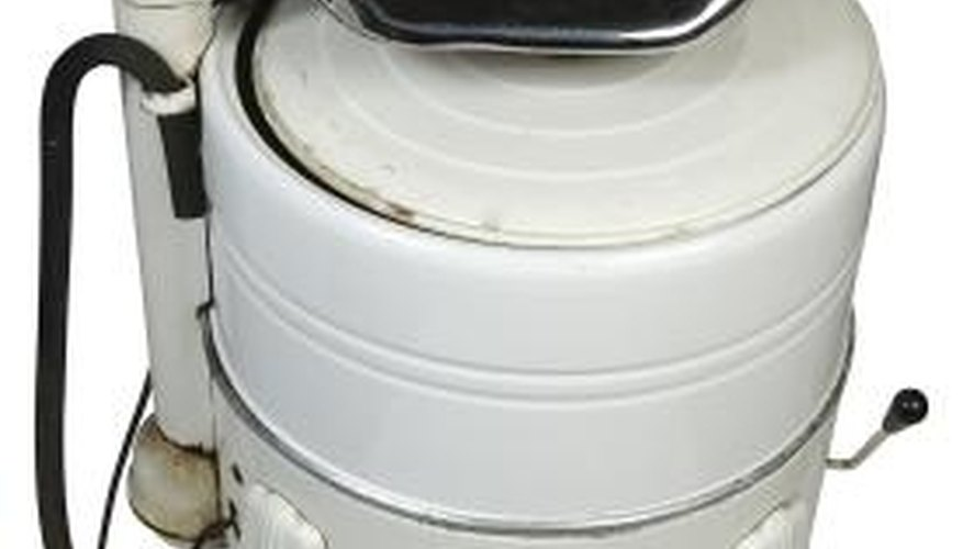Wringer washing machines use little water or detergent.
