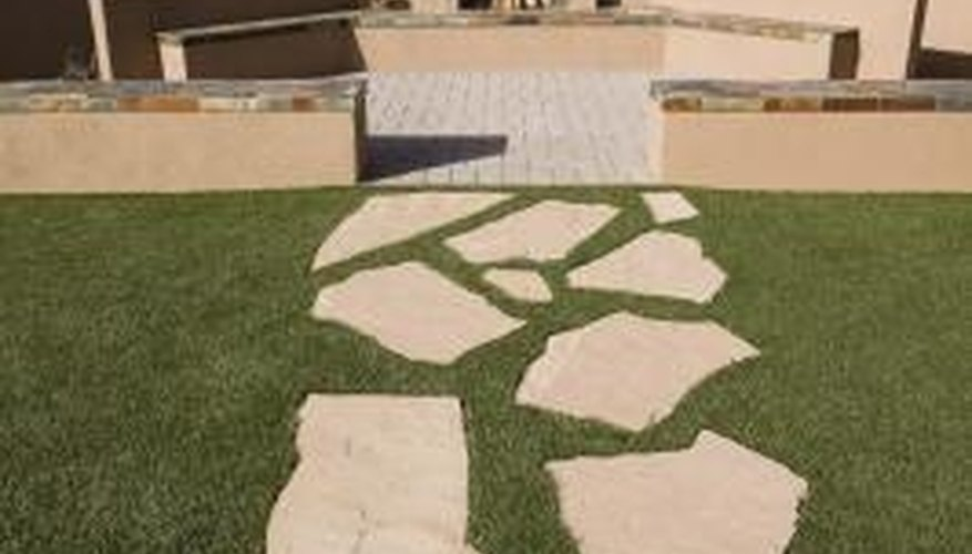 Acid removes dirt and stains from flagstone.