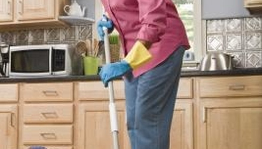 Rinse your mop in water; let it air dry after each use.
