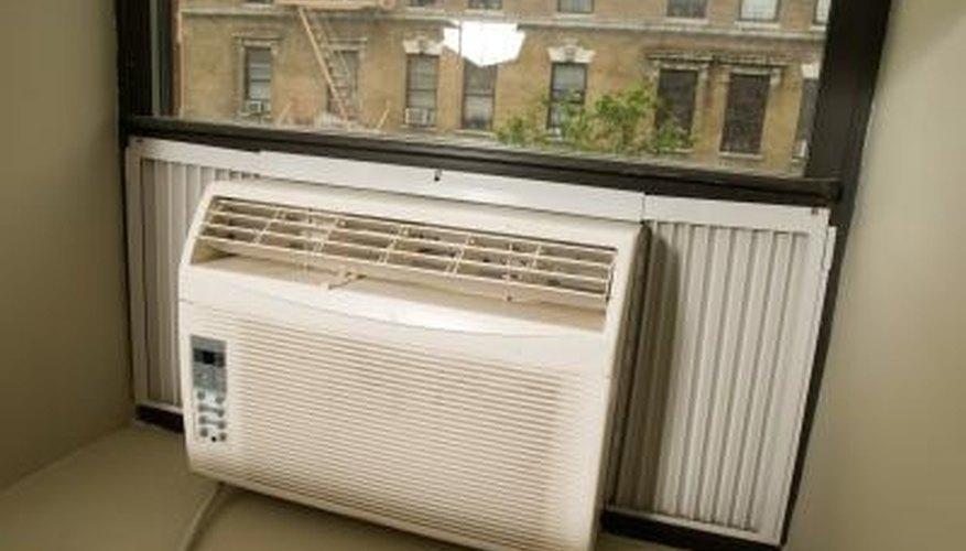 Air conditioning units install into aluminum windows.