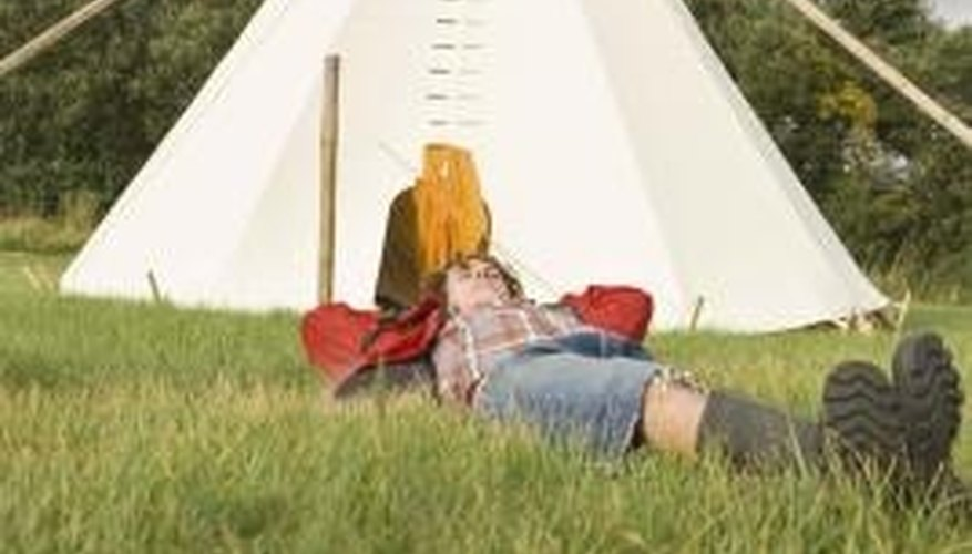 PVC pipe makes an acceptable substitute for wooden tipi poles.