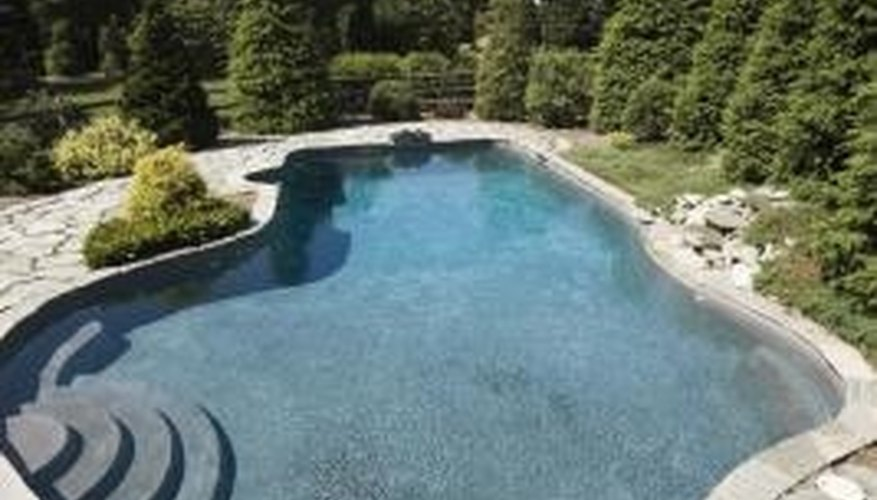 Sand filters remove debris from pool water.