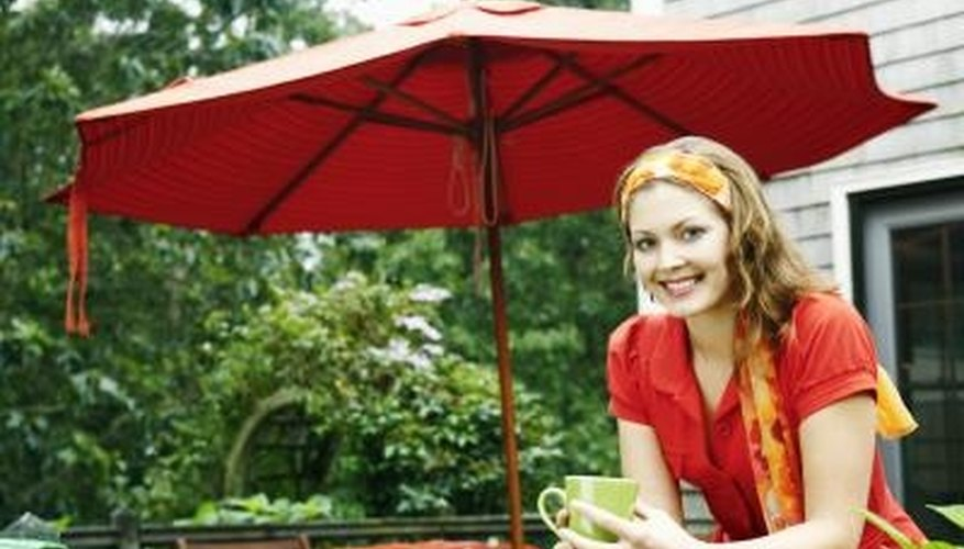 Enhance your backyard or patio with an outdoor umbrella.