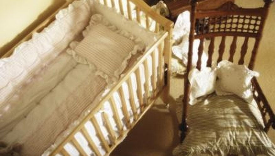 Clean a wood crib with homemade cleaner.