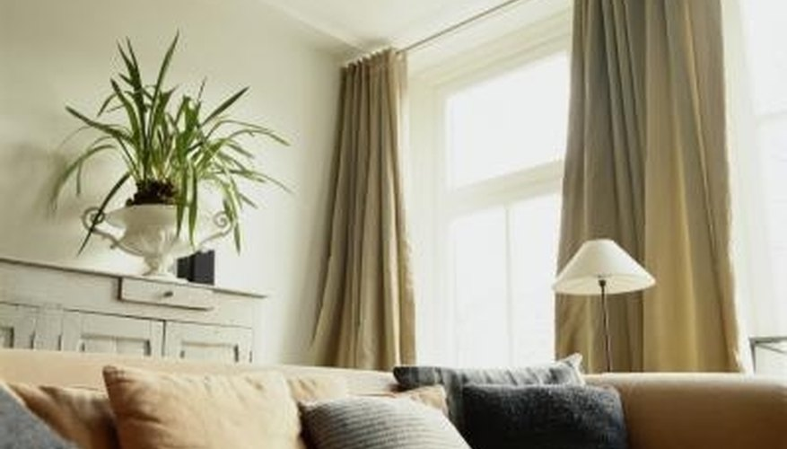 Curtains can be hung with materials that cost almost nothing.