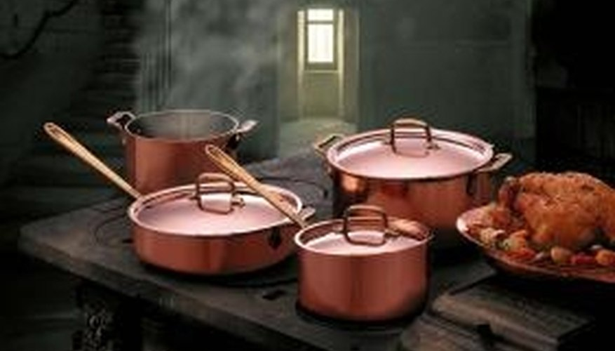 Copper pots and pans can be shined to look like new.