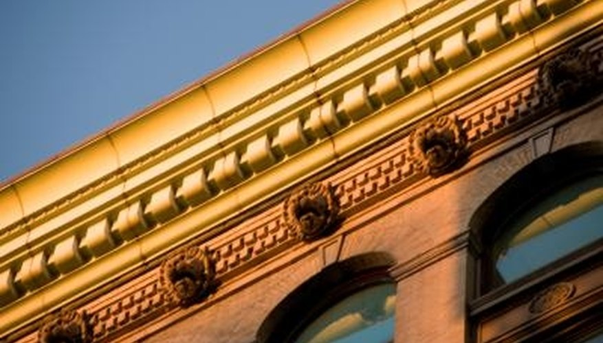 Molded designs along the roofline called
