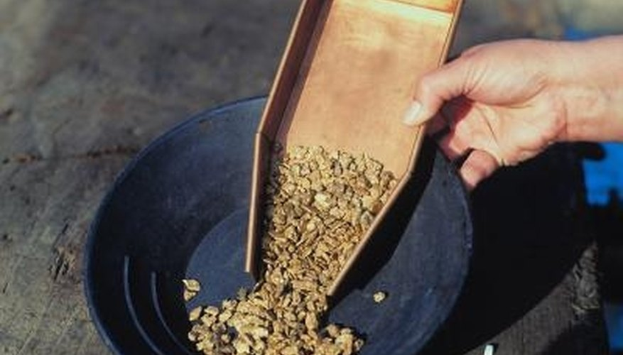 Miner's moss is used to trap gold nuggets and particles as they run through a sluice.