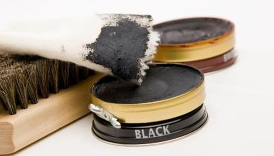 Shoe polish has conditioners and wax that protect shoe leather.