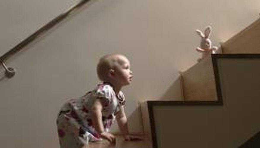 Babies quickly learn how to climb stairs.