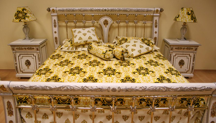 A lacquered brass bed
